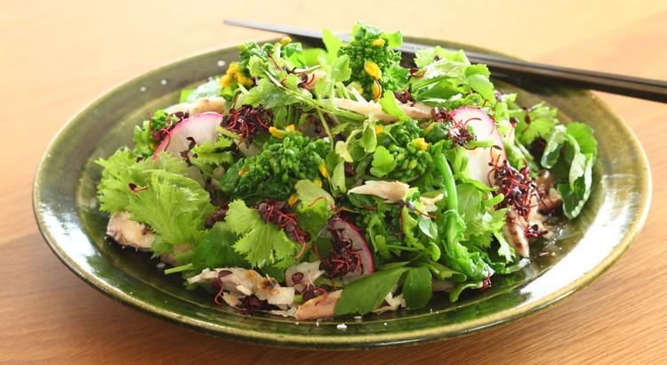 干物と芹とわさび菜の和え物