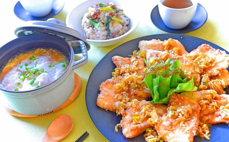 【リクエスト開催】白身魚の油淋鶏風&牛肉と小松菜のオイスターソース炒飯