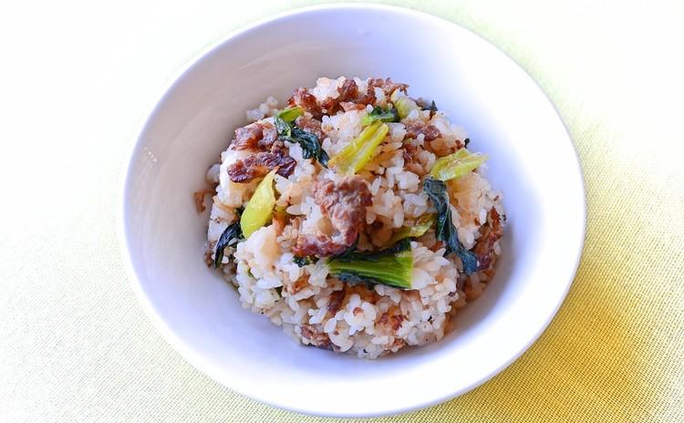 牛肉と小松菜のオイスターソース炒飯