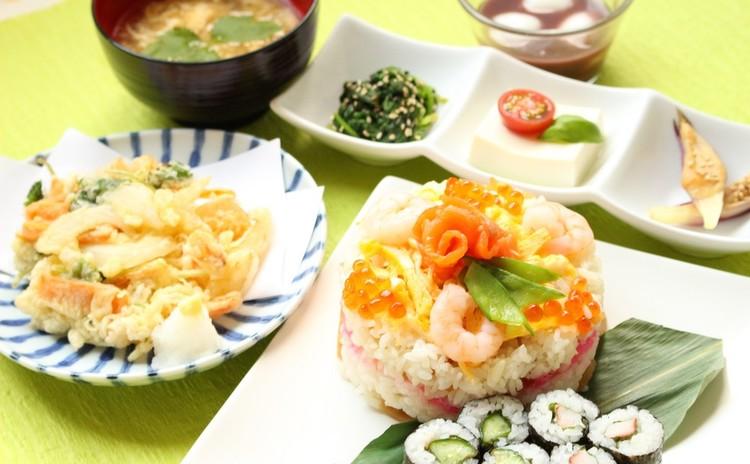 和食でお節句やおもてなしに使える献立♪すしケーキ細巻きかき揚げぜんざい