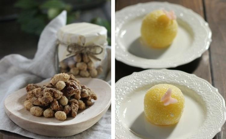 簡単おやつ!くるみと炒り大豆の黒糖がらめと餅菓子「てふてふ」♡