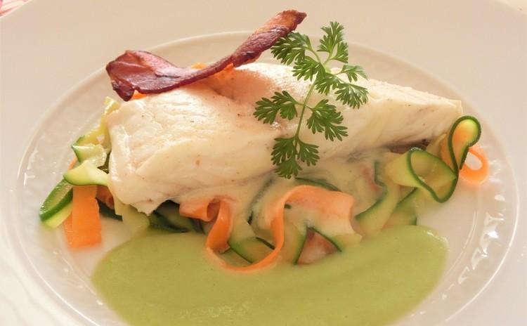 ◆再レッスン◆ 鯛のブレゼそら豆ソース、アスパラと卵の桜えびソース