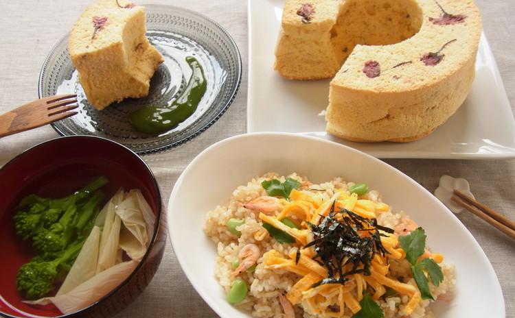 お祝い&おもてなしに♪ 玄米ちらし寿司とふんわり桜のシフォンケーキ