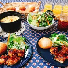甘夏酵母パン、甘夏チキン、豆乳スープ、etc.