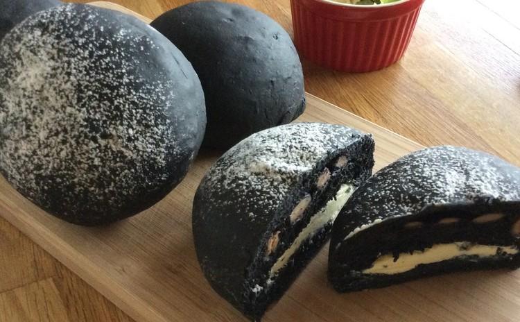 竹炭パンのミルフィーユ