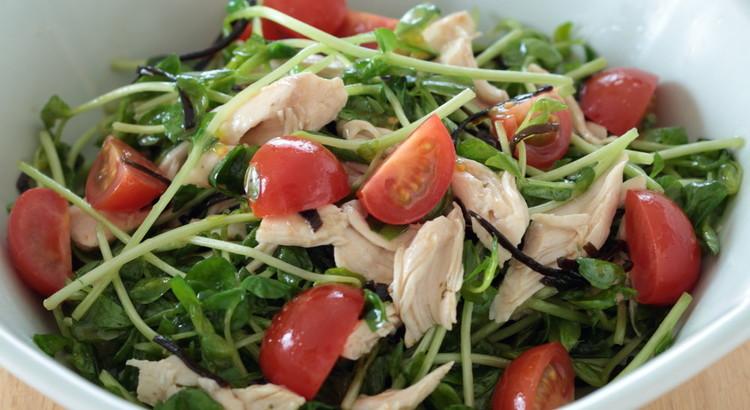 ささみと豆苗の塩昆布サラダ