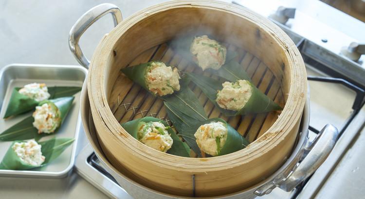 笹巻きの蒸し豆腐
