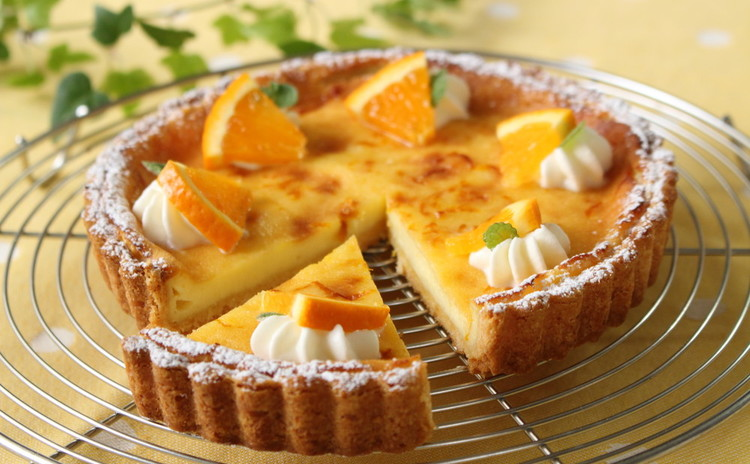 オレンジ香るタルト・フロマージュとシャーベット&ヨーグルトスープ