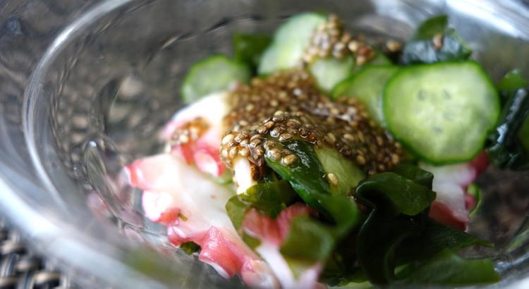 【チアシード入り魚介酢の物】トロ~リタレをチアシードで作り健康UP