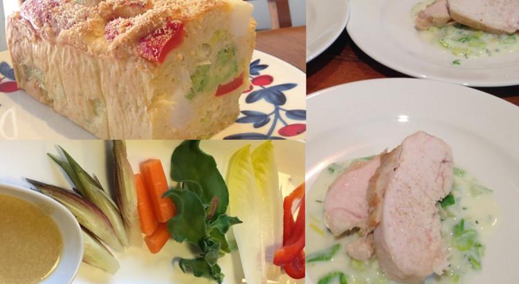 ケーク・サレ、鶏胸肉のソテー&春キャベツのソースなどビストロ料理3品
