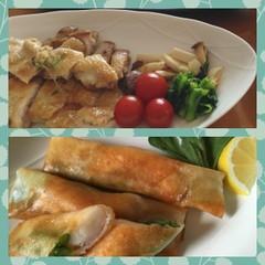 パリッとチキンソテー&プルプル海老とアスパラの春巻き・春の食材レッスン