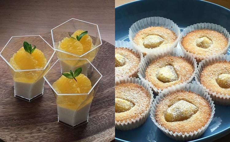 季節の柑橘を使ったパンナコッタ&栗の小さな焼菓子