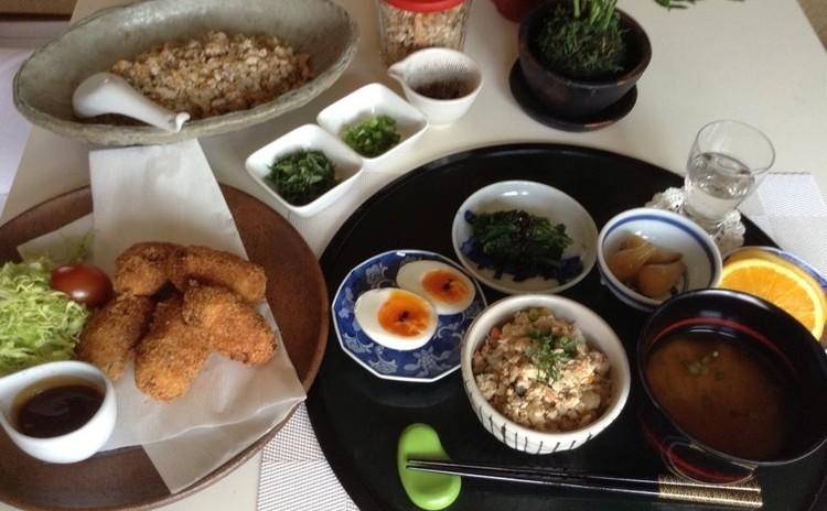 ☆根菜ごろっコロッケ&根菜五種と鶏おかずそぼろ♪白玉クリームぜんざい