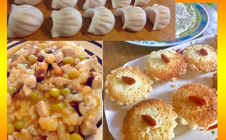 蝦蒸し餃子、福建炒飯、ココナッツタルトを作ります♪