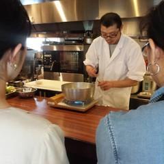 菜の花・山菜・筍を使った献立にプラス実習で鰯の手開きをします。