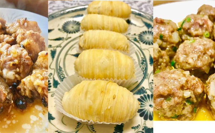 豆豉排骨、山竹牛肉球、蘿蔔酥餅をレッスン