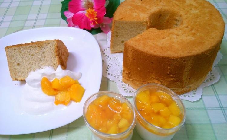 トロピカル~♪ マンゴーシフォンケーキ&豆乳プリンマンゴーソース♪