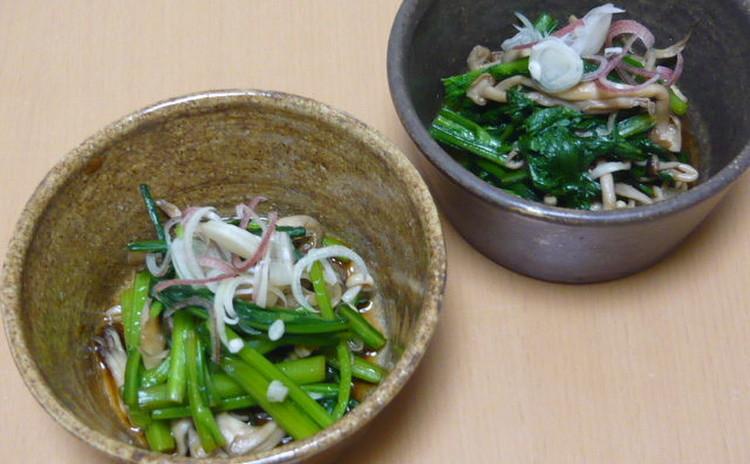 キノコと菊菜の和え物