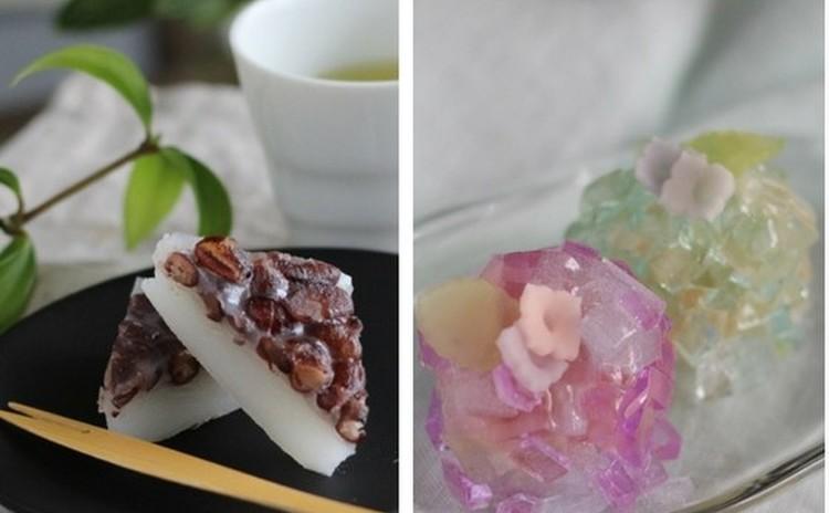 6月の和菓子2品!「水無月」と「あじさい」(錦玉製)