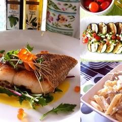 皮パリッ身はふっくら魚のポワレ 夏野菜のグリルやゴボウのクリームペンネ