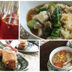 中華でおもてなし/福建炒飯・手羽先餃子・辣油・舞茸とコーンの黒酢スープ