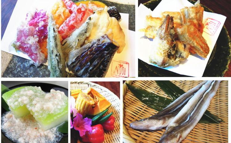 天ぷらレッスン第2弾!旬の穴子と夏野菜の天ぷら&冬瓜の翡翠煮