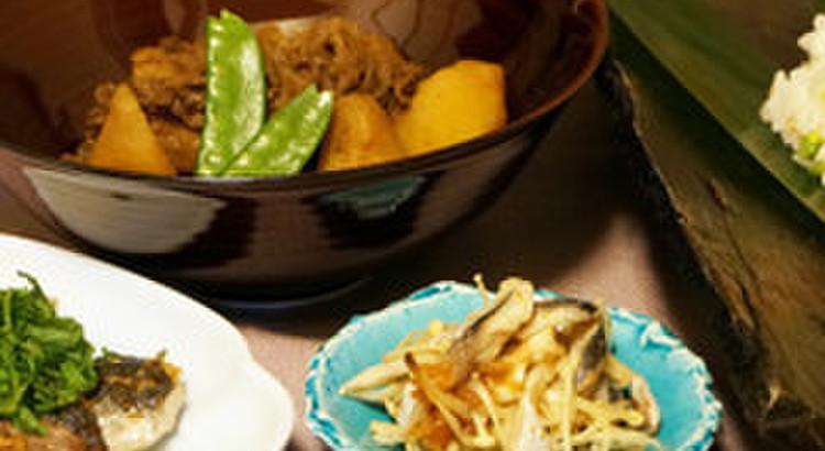 一人2尾鰯をさばこう!じゃがいもと牛肉のこっくり煮+蕪と海老変わり寿司
