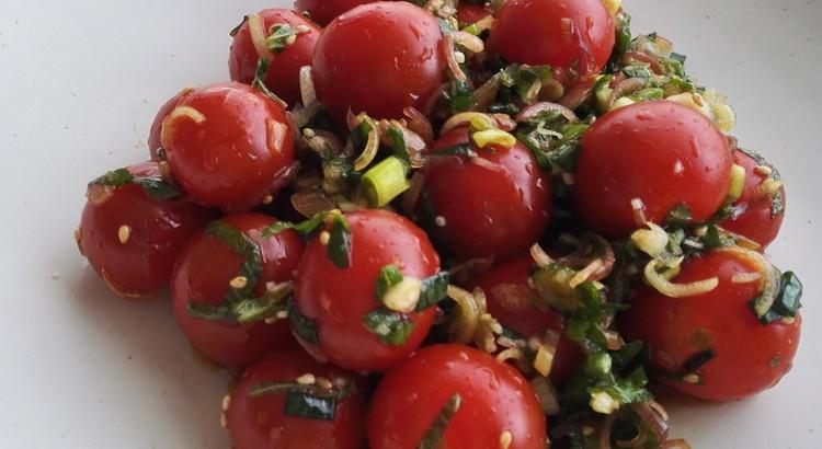 ミニトマトの香味野菜サラダ