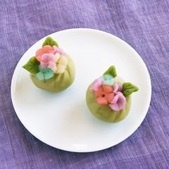 練り切りで季節の和菓子「あじさい」を作りましょう