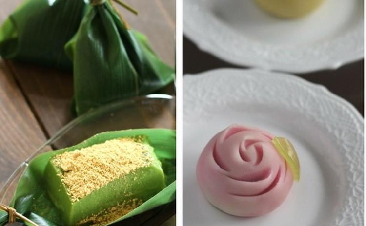 「抹茶ミルクくず餅」と練切り「薔薇」