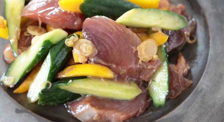 カツオときゅうりのサラダ みょうが風味