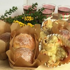 1つの生地で2種類のパン☆さっぱりデザート付き♡