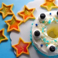 七夕を楽しもう♪~ブルーエンジェルケーキと星のステンドグラスクッキー~