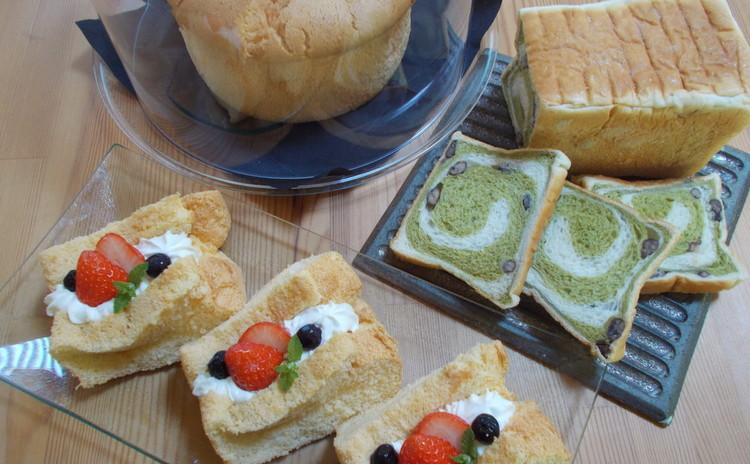 鹿の子豆入り抹茶のぐるぐる食パンとシフォンケーキ