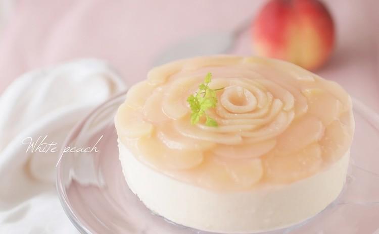 豪華!薔薇のデコレーション♡夏に爽やかピーチヨーグルトムースケーキ♪