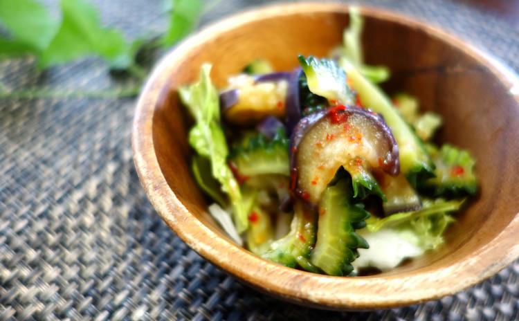 【なす&ゴーヤのピリ辛サラダ】夏野菜でパワーUPサラダ
