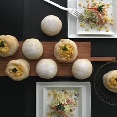 自家製酵母パン!手作りマヨネーズコーンパン&シロッコ、ハーブマヨサラダ