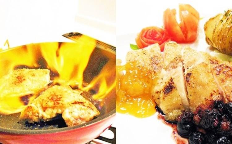 チキンソテーのフランベ 爽やかフルーツソース2種
