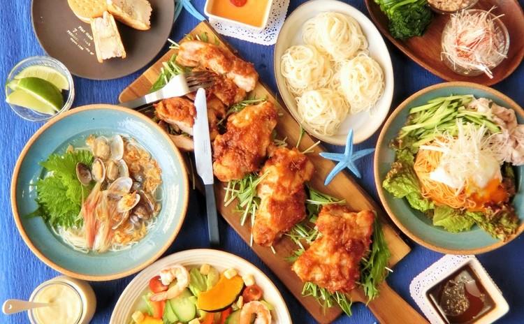 夏はツルッと!ソーメン4種&バーベキューチキン、簡単鶏ガラなど 全8品