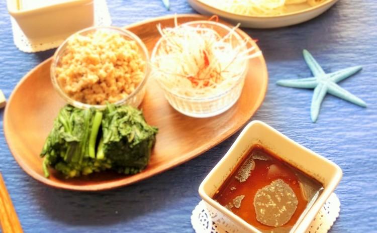 黒ゴマ担々素麺のつけ麺仕立て(レンジアップ肉そぼろ添え)
