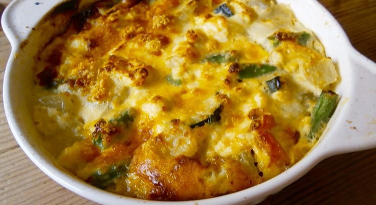 野菜の豆腐入りオムレツ