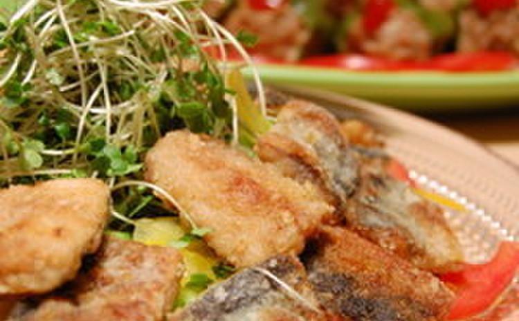 青魚の竜田揚げ夏サラダ