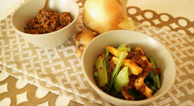 [アレンジレシピ]小松菜と油揚げの肉そぼろ炒め