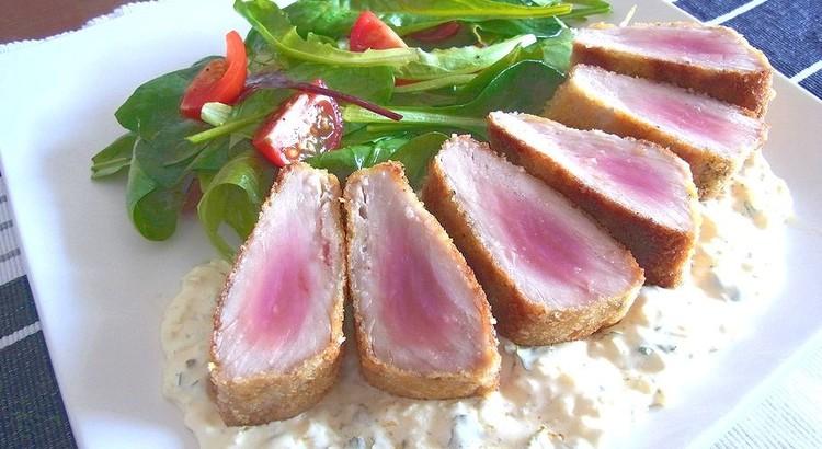 マグロのパン粉焼き オニオンマハーブヨネーズソース