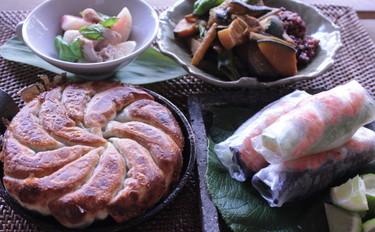 盛夏の食材!茄子の厚皮餃子、桃サラダ、茄子アボカド豚肉とパイン生春巻、