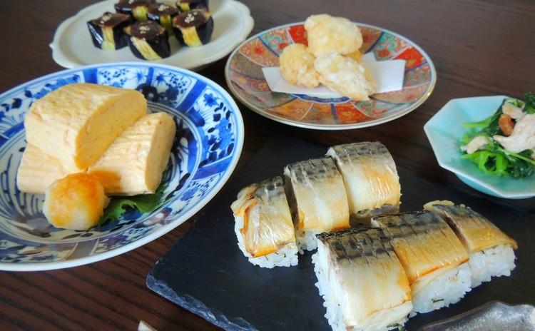 塩さばをごちそうに!焼きさば寿司とだし巻き卵のお献立 他3品