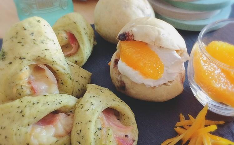 江戸川名産!小松菜ベーコンチーズとオランジェショコラヨーグルトクリーム