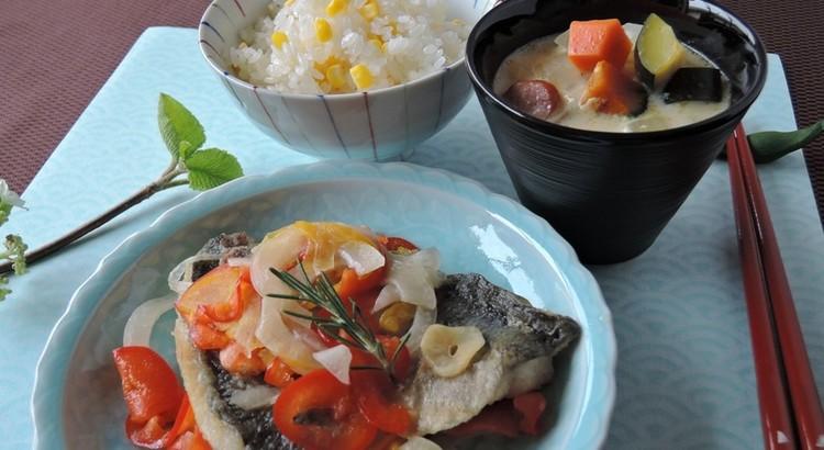 爽やか鯵の香りマリネ・夏野菜の豆乳チャウダー・とうもろこしご飯
