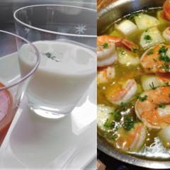 夏に嬉しい、冷製スープ2種+アヒージョ+豚肩ロースのソテー