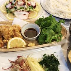 九州地方の郷土料理 冷汁&とり天&柚子胡椒風味水ダコのカルパッチョ